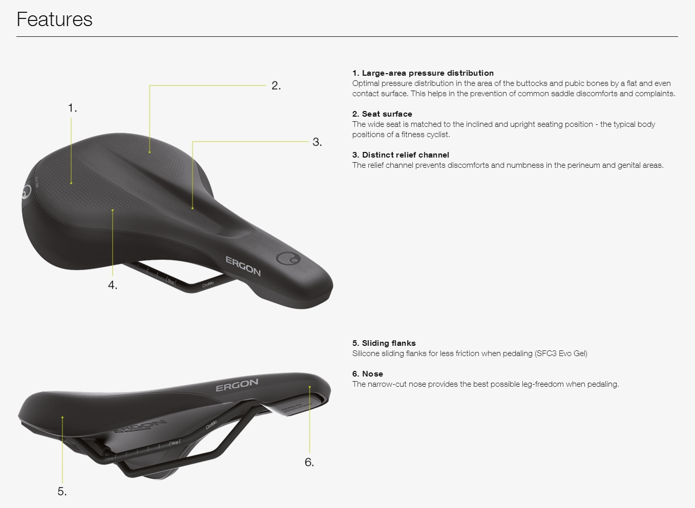 Ergon SFC3 Saddle Features